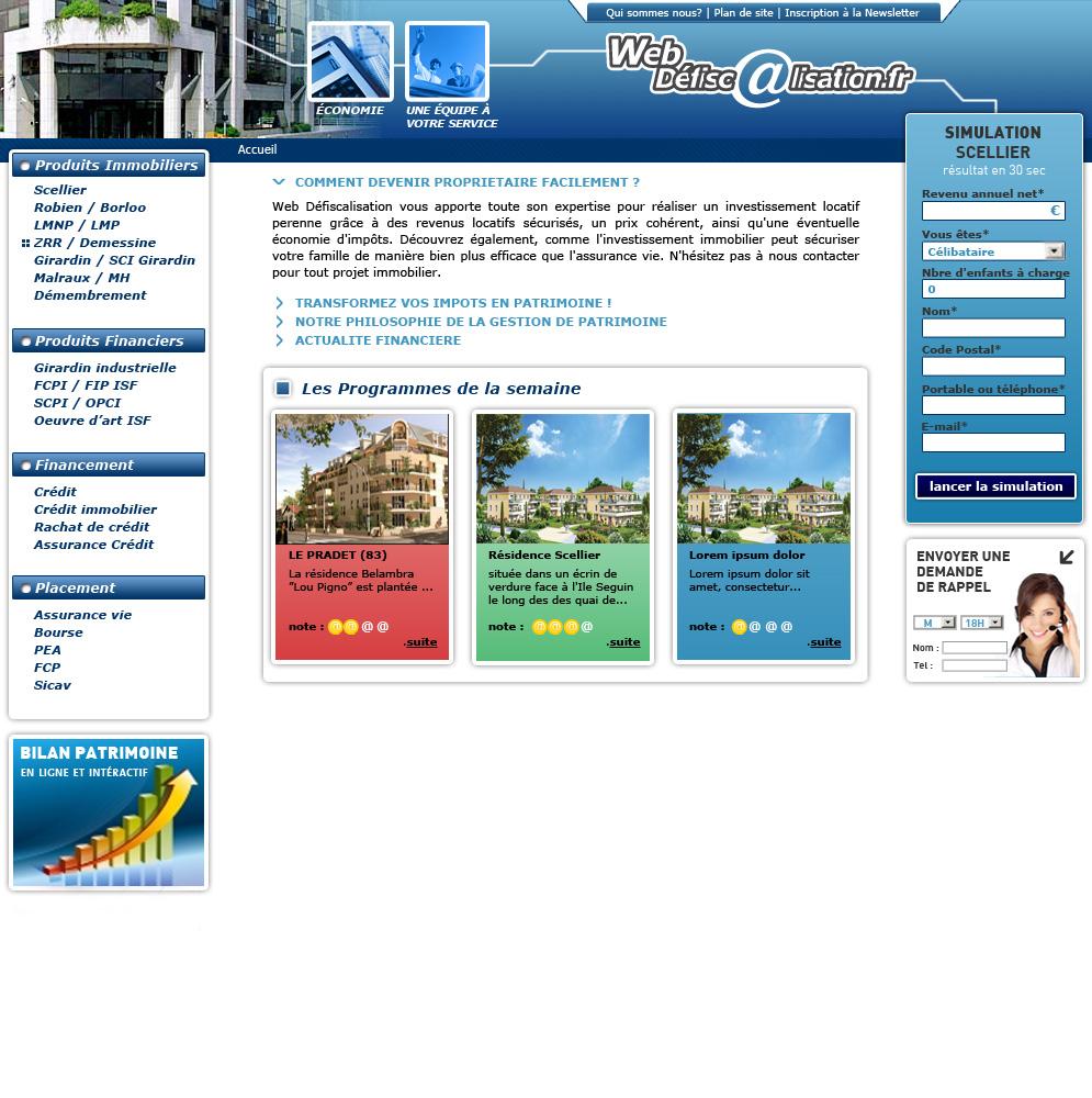 Web defiscalisation - accueil
