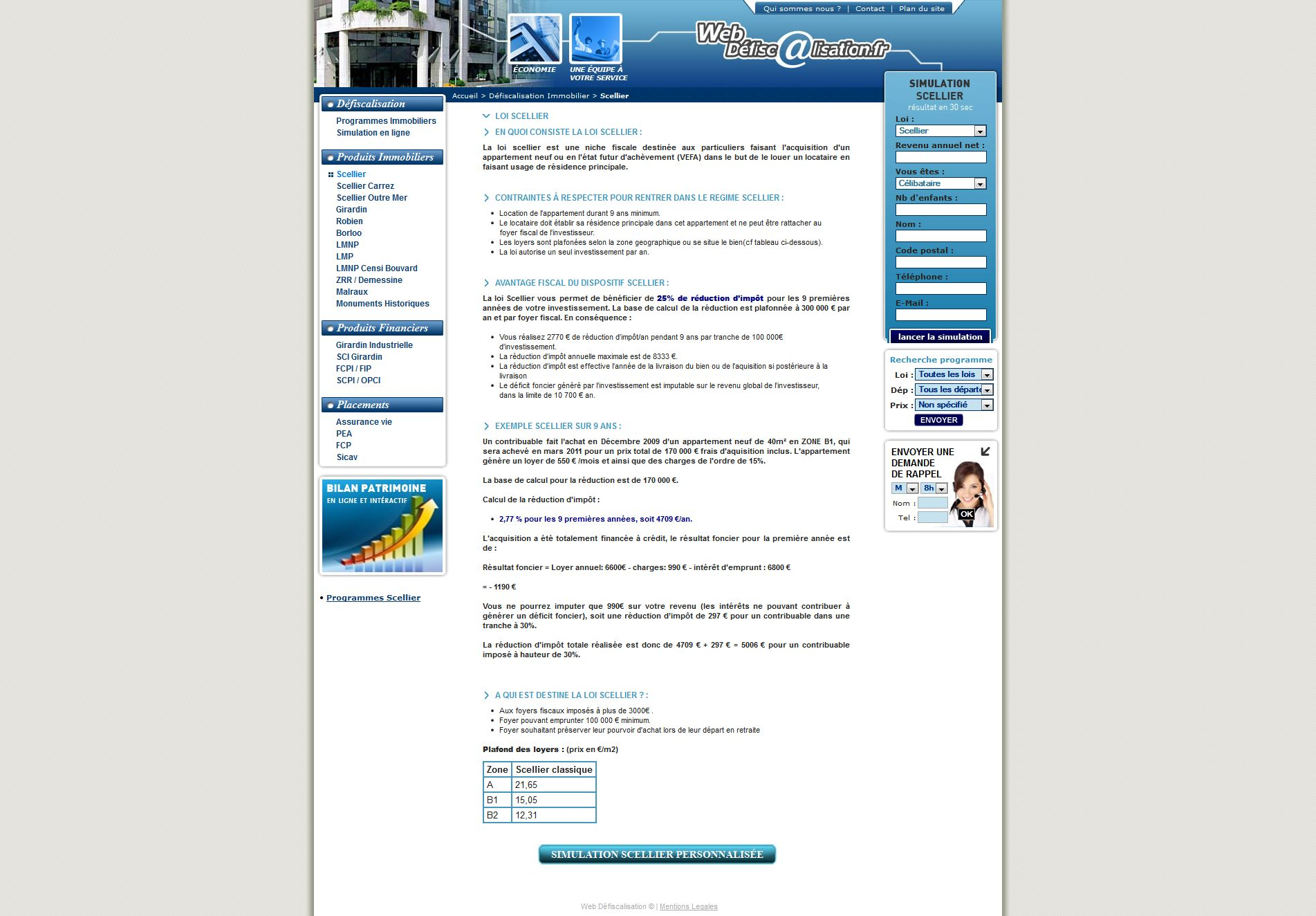 Web defiscalisation - page interne