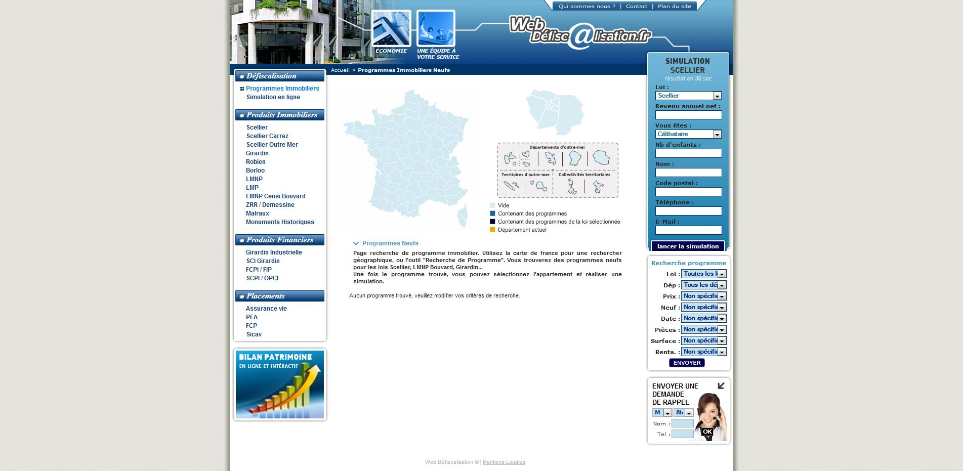 Web defiscalisation - programmes