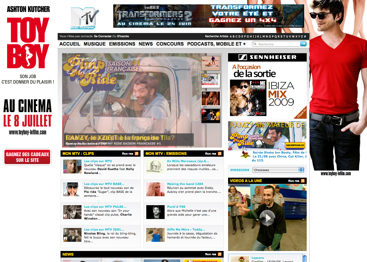 TOYBOY habillage sur le site MTV - integration