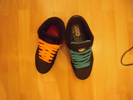 Photo Top Shoes Orange and Blue